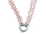 Sterling Silver and Rose Polished Fancy Heart Necklace style: QG2971