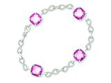 Sterling Silver Square Cz Pink Checkerboard 7.25in Infinity Bracelet style: QG3111