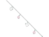 "Sterling Silver 9"" Polished Heart And Rose Stone W/ 1in Ext. Anklet"" style: QG3147"