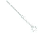Sterling Silver Polished Flower W/ 1in Ext. Anklet style: QG3154