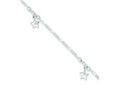 Sterling Silver Polished Star W/ 1in Ext. Anklet style: QG3156