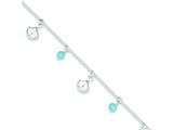 Sterling Silver Polished Shell And Turquoise W/ 1in Ext. Anklet style: QG3167