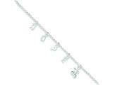 "Sterling Silver 10"" W/1"" Ext. Anklet style: QG3171"