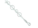 Sterling Silver Textured Circles Link Bracelet style: QG3217