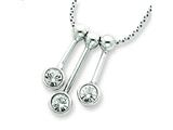 Sterling Silver 3 Cubic Zirconia Dangle Charms On 16 Chain Necklace style: QG322