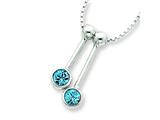 Sterling Silver 2 Blue Cubic Zirconia Dangle Charms On 16 Chain Necklace style: QG323