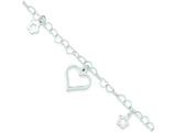 Sterling Silver Polished Heart And Flowers Bracelet style: QG3253