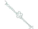 Sterling Silver Polished Heart Star Flower Bracelet style: QG3254