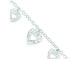 Sterling Silver Polished Heart Bracelet style: QG3255