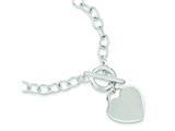Sterling Silver Oval Link Heart Bracelet style: QG3280