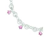 Sterling Silver Pink Glass Star Bracelet style: QG3353
