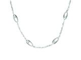Sterling Silver Brushed Ovals And Heart Link Necklace style: QG3411
