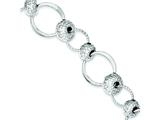 Sterling Silver Rhodium Polished and Texture Circles W/beads Bracelet style: QG3417