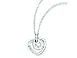 Sterling Silver Polished Heart Pendant Necklace style: QG3432