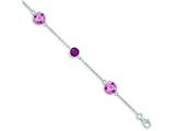 Sterling Silver Pink Cubic Zirconia And Pink Preciosa Crystal Bracelet style: QG3454