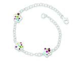 Sterling Silver Stellux Multi Color Crystal Flower Bracelet style: QG3456
