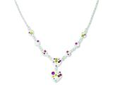 Sterling Silver Stellux Multi Crystal Heart W/ 2 In Ext Necklace style: QG3458