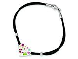Sterling Silver Stellux Crystal Multi-color/white Heart/cord Bracelet style: QG3459