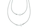 Sterling Silver Small and Large Sideways Curved Cross 2-layer Necklace style: QG3463