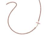 Sterling Silver Rose Gold-plated Small Sideways Curved Cross Necklace style: QG3465P