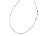 Sterling Silver Small Sideways Curved Cross Necklace style: QG3465