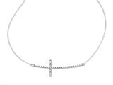 Sterling Silver With Cz Sideways Cross W/ 2 In Ext Necklace style: QG3473