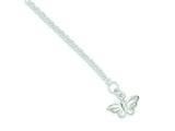 Sterling Silver 10inch Solid Polished Butterfly Anklet style: QG434