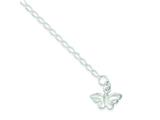 Sterling Silver 10inch Solid Polished Butterfly Anklet style: QG441