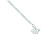 Sterling Silver 10inch Solid Polished Butterfly Anklet style: QG633