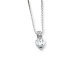 Sterling Silver Cubic Zirconia Heart On 18 Chain Necklace style: QG967