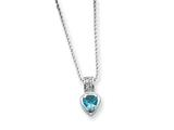 Sterling Silver Blue Cubic Zirconia Heart On 18 Chain Necklace style: QG969