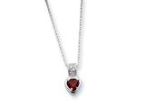 Sterling Silver Red Cubic Zirconia Heart On 18 Chain Necklace style: QG970