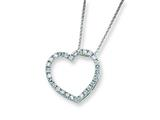 Sterling Silver Cubic Zirconia Heart Slide On 18 Chain Necklace style: QG981