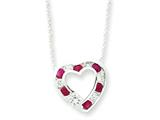 Sterling Silver Genuine Ruby and Cubic Zirconia Heart On 18 Chain Necklace style: QG991