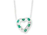 Sterling Silver Genuine Stone and Cubic Zirconia Heart Slide On 18 Chain Necklace style: QG992