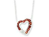 Sterling Silver Garnet and Cubic Zirconia Heart Slide On 18 Chain Necklace style: QG994