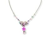 Sterling Silver Pink Cubic Zirconia/blue Topaz/pink Agate/amethyst Necklace style: QH2040