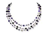 Sterling Silver 3 Strand Amethyst/lilac Crystal Necklace style: QH2078