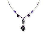 Sterling Silver Amethyst/prehnite/lavender and Green Quartz Necklace style: QH2111