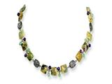 Sterling Silver Antiqued Amethyst/green Agate/jasper Necklace style: QH2153