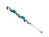 Sterling Silver Dyed Howlite/turquoise/red Coral Bracelet style: QH2312