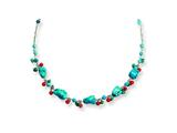 Sterling Silver Dyed Howlite/turquoise/red Coral Necklace style: QH2313