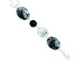 Sterling Silver Black Agate and Tourmalinated Quartz Bracelet style: QH2525