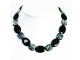 Sterling Silver Black Agate and Zebra Jasper Necklace style: QH2532