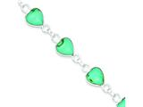 Sterling Silver Polished Heart-shaped Turquoise Bracelet style: QH431