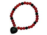Sterling Silver Black Agate Heart/red and Blk Agate Beads Stretch Bracelet style: QH4546