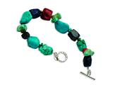 Sterling Silver Red Coral/howlite/lapis and Turquoise Bracelet style: QH4565