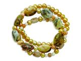 Jasper Rutilated Quartz Freshwater Cultured Pearl Stretch Bracelet style: QH4707