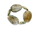 Brown Crack Agate and Feldpath Stretch Bracelet style: QH4715