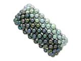 Sterling Silver Black Grey 6-7mm Freshwater Cultured Potato Pearl Stretch Bracelet style: QH4801